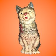 Antique Cold Painted Austrian Metal Miniature Dollhouse  Kitty Cat