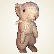 Antique Mohair Straw Stuffed Standing Bunny Rabbit