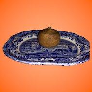 Antique Miniature Dollhouse Peaseware Treen Turned Covered Jar