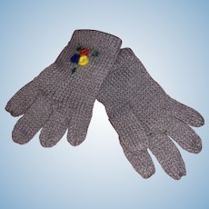 Old Miniature Fine Wool Fashion Doll Gloves