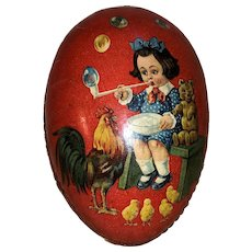 Early Old German Paper Mache Easter Egg Candy Container