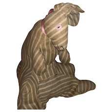 Antique  Ticking Kangaroo Stuffed Cloth Animal Doll