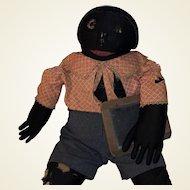 Antique American Folk Art Black Boy Doll With Hands