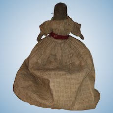Antique Folk Art American Pencil Face Cloth Rolled Rag Doll