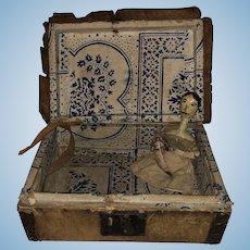 Antique Early Rare Peg Wooden Folk Art Doll With Original Document Box