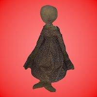 Antique Folk Art Primitive  Hand Drawn Face Civil War Cloth Rag Doll