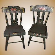Vintage Old Painted Miniature Pair Of Salesman Sample Chairs