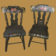 Vintage Old Painted Miniature Pair Of Salesman Sample Chairs
