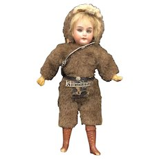 Antique German Bisque Sleep Eye Klondike Mohair Outfit Doll