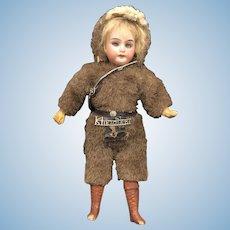 Antique German Bisque Sleep Eye Klondike Mohair Outfit Doll