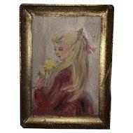 Miniature Dollhouse Painted Portrait