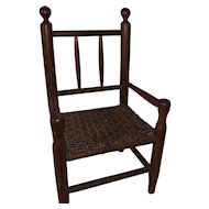Antique Wooden Pencil Back Miniature Woven Seat Salesman Sample Chair