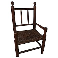 Antique Wooden Pencil Back Miniature Woven Seat Salesman Sample Chair