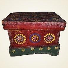 Antique Folk Art Painted Miniature Blanket Box
