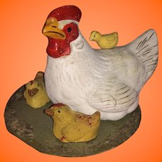 Antique German Paper Mache Hen And Baby Chick's Candy Container