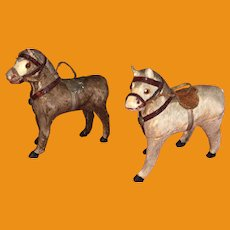 Antique German Stick Leg Paper Mache Miniature Pony's