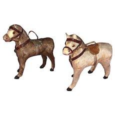 Antique German Stick Leg Paper Mache Miniature Pony's