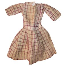 Antique Early Plaid Pa Pleated Bottom Doll Dress