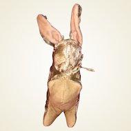 Antique Straw Stuffed Mohair Glass Eyed Rabbit