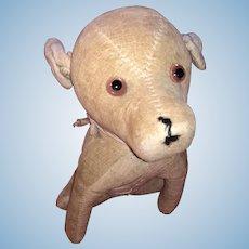 Antique Old Velvet Glass Eyed Straw Stuffed Dog
