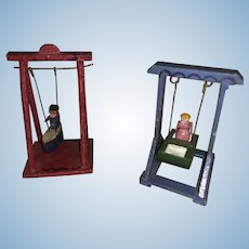 Antique German Erzgebirge Miniature Dollhouse Wooden Swinging Figures