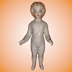 Antique German China Blond Frozen Charlotte Doll