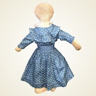 Antique Folk Art American Cloth Rag Doll