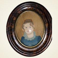 Antique Early New England Primitive Watercolor Portrait
