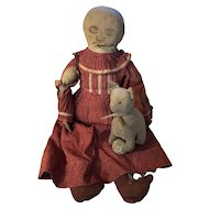 """Antique American Folk Art 23"""" Ink Face Cloth Rag Doll With Hands"""