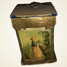 Antique Victorian Lithogragh German Dresden Trim Sewing Keep Box