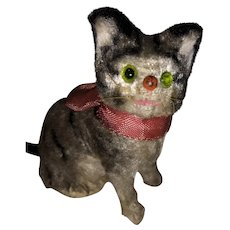 Antique German Velvet Miniature Glass Eyed Kitty Squeak Toy