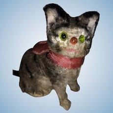Antique German Velvet Miniature Glass Eyed Kitty Squeak Toy