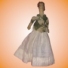 "Antique Folk Art American 5"" Dollhouse Cloth Rolled Doll"