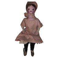 Antique American Painted Face Presbyterian Church Cloth Rag Doll