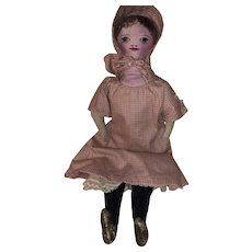 Antique American Painted Face Presbyterian Church Cloth Rag Doll