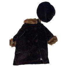 Antique Velvet Fashion Doll Purple Doll Coat With Cap