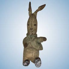 Antique Felted Miniature Hand Stitched Cloth Bunny With Metal Feet