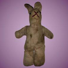Antique Cloth Shoe Button Eye Rag Doll Bunny
