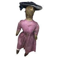 Antique Folk Art Threaded Hair Cloth Rag Doll