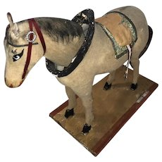 Antique German Flocked Platform 19th Century Nodder Horse