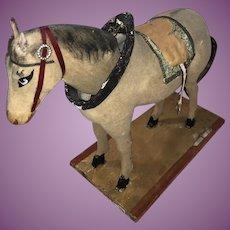 Antique German Flocked Platform 19th Century Nodder Horse