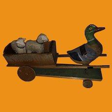 Antique German  Paper Mache Mallard Wooden Cart With Putz Sheep
