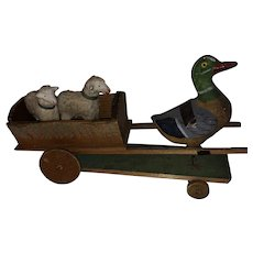 Antique German  Paper Mache Mallard Wooden Cart With Putz Sheep