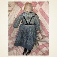 """Antique American Pencil Face Flax Hair 15"""" Cloth Rag Doll"""