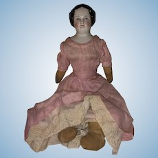 Antique German Mid 19th Century China Head Doll With Rag Doll Body