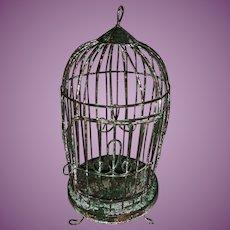 Vintage Painted Miniature Dollhouse Wire Metal Birdcage