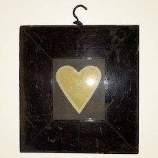 Antique Early Folk Art Victorian Heart  Framed Valentine Cutout