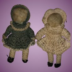 Antique Cloth Faceless Miniature Rag Dolls With Crotchet Outfits