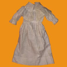 Antique Early Hand Made Old Lace Doll Dress
