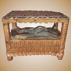 Antique Woven Wicker Miniature Dollhouse Canopy Doll Bed